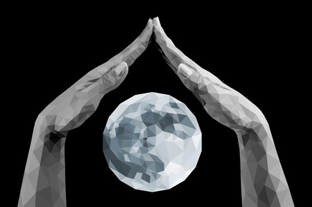 polygonal hands protect covering the moon monochrome