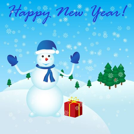 Happy New Year with snowman and gift
