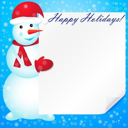 Vector illustration of snowman with empty blank  Illustration