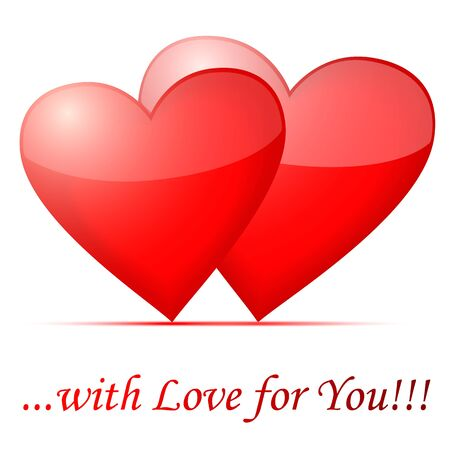 Whith Love for You, two hearts, with shadow Stock Vector - 16761488