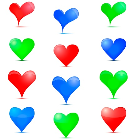jigsaw tangram: Heart Icon. Colorful icons on Valentine day