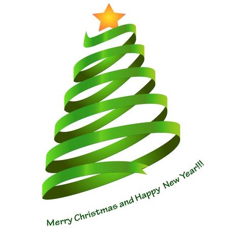 Abstract Christmas Tree with big Orange Star Illustration