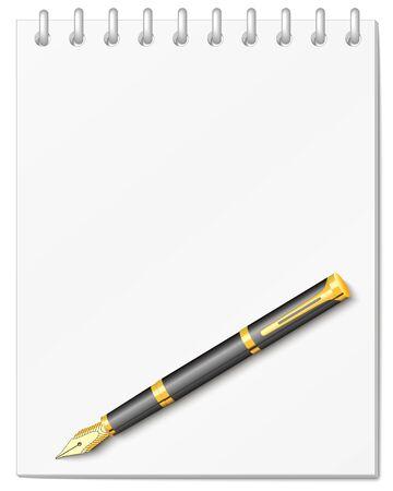cuaderno espiral: el cuaderno espiral con la pluma Vectores