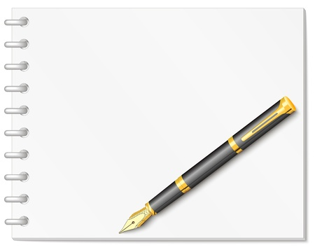 Spiral white notebook with gold, ink pen Vector
