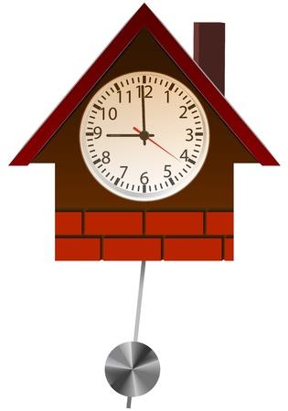 reloj de pendulo: Broun reloj de pared con madera de pino. Aislar los objetos