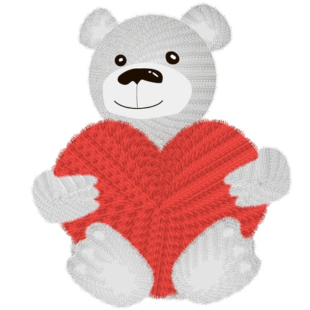 Cute Teddy Bear sitting with pink love heart Stock Photo - 17359908