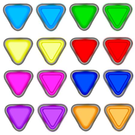 four color triangular button in the white background. Illustration