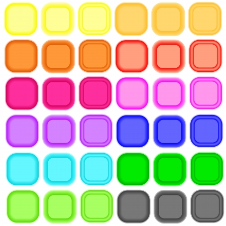 Set of colored glossy blank button isolated on white background. Illustration Illustration