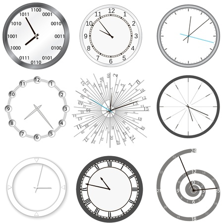 Clock set  Isolated  Illustration Vector