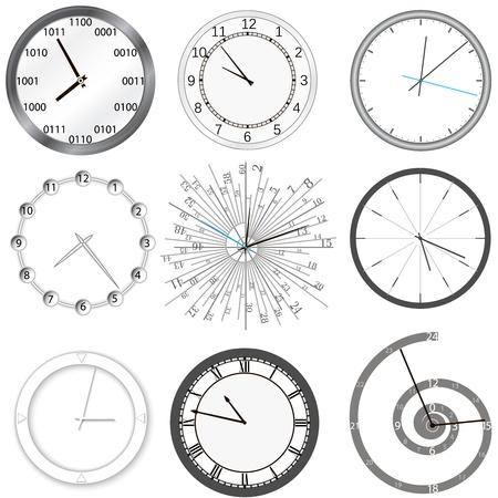 Ilustracja zestaw zegar samodzielnie Ilustracje wektorowe
