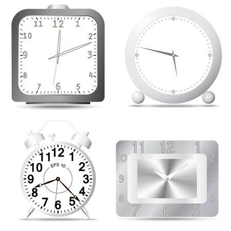 Set of desk Clocks  Chrome clock on white fon  Illustration Illustration