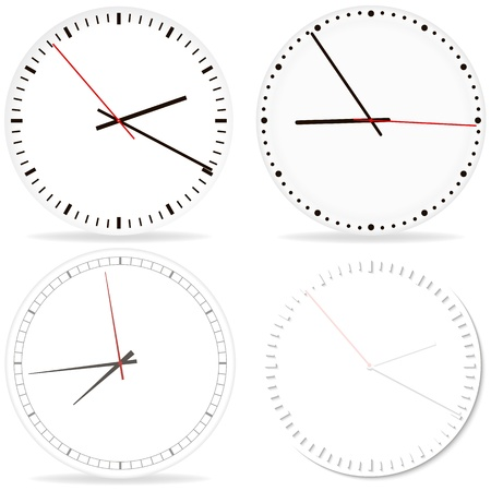 Set of desk Clocks. Chrome clock on white fon with shadow. Illustration Stock Vector - 18866497