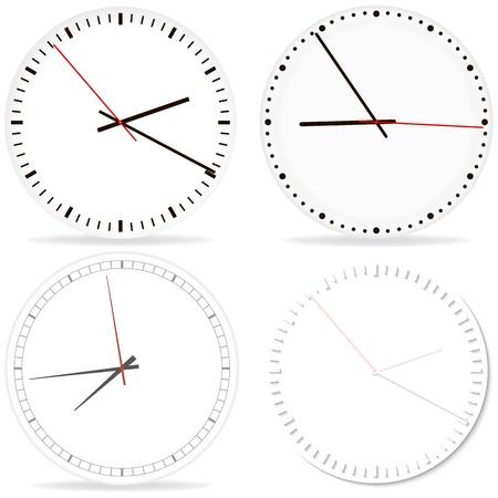 explosive watch: Set of desk Clocks. Chrome clock on white fon with shadow. Illustration
