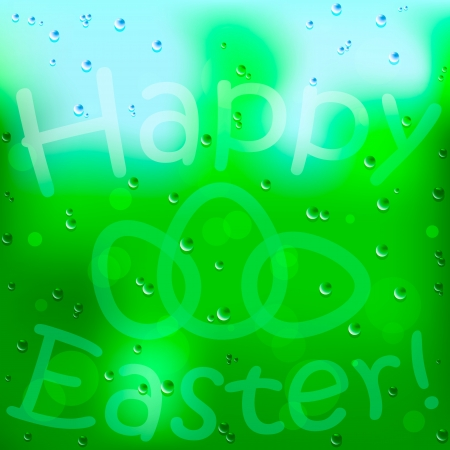 Easter background and egg on window, with rain Vector
