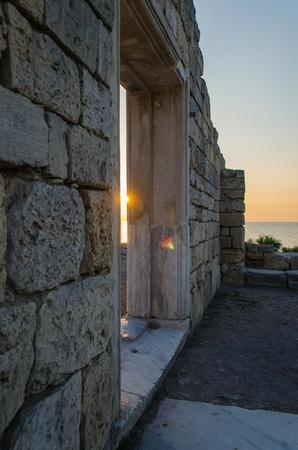 Ruins of ancient greek colony Khersones  Sunset, Sevastopol,Crimea