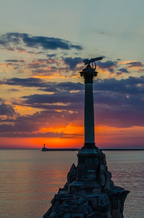 Monument to the sunk ships in Sevastopol at sunset