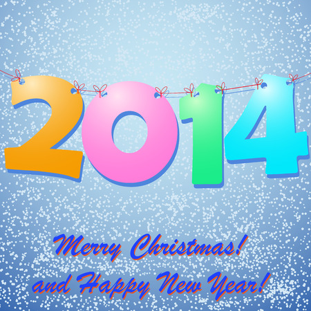 snow drift: Happy New Year 2014 Background with snow