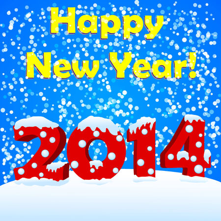 happy new year 2014 with snow