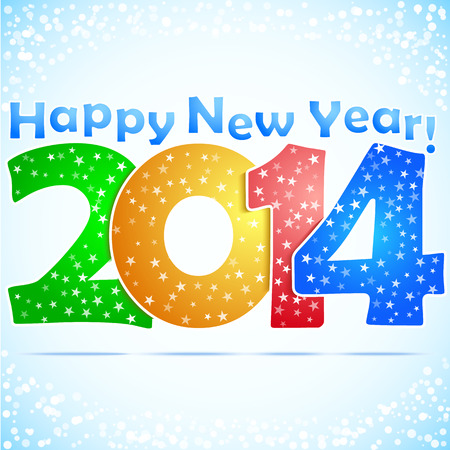 Happy New Year 2014 Background with snow  Vector
