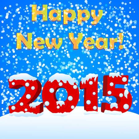 snow drift: happy new year 2015 with snow