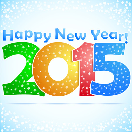 Happy New Year 2015 Background with snow. Vector