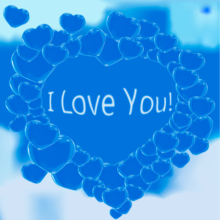 Many Bubble heart at the blue sky in Love
