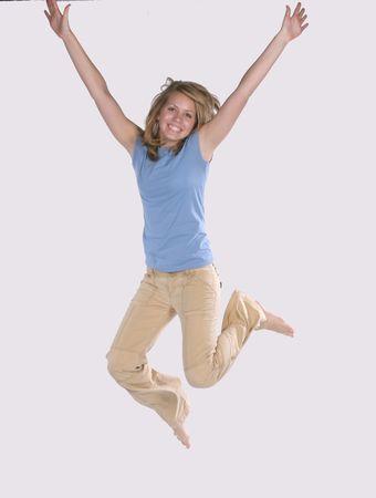 Fille de saut d'obstacles Banque d'images - 650603