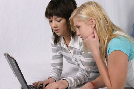 Girls with Computer Stock Photo - 650600