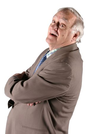 Mature senior man in business suit with arms crossed Stock Photo - 650597