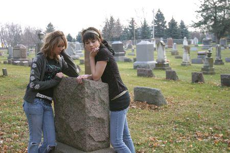 beautiful sad depressed teenage girls in cemetary