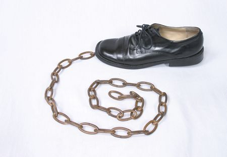 chainlinks: Black oxford dress shoe and bronze chain