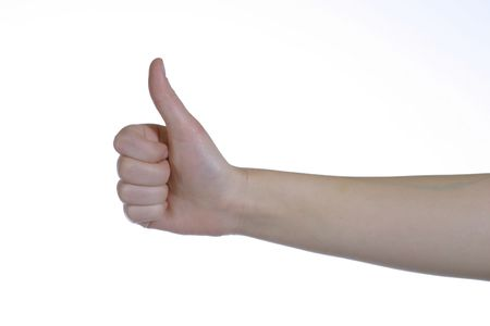 caucasian hands on white background giving thumbs up sign photo