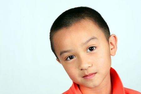 closeup of asian boy isolated on white background Stock Photo