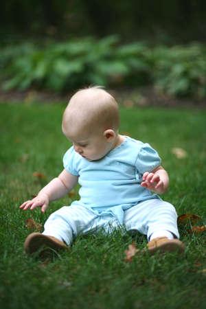 beautiful baby sitting in grass Stock Photo - 2956608