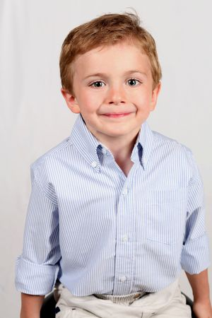 cute happy smiling little boy on white Stock Photo