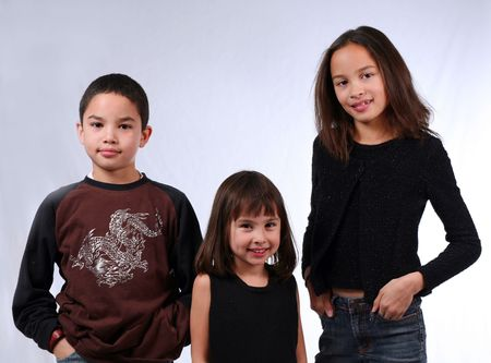 3 kids ethnically diverse photo
