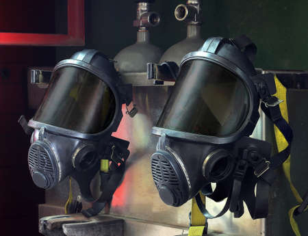 Oxygen mask , Gas mask , Firefighters mask of Firefighters in Thailand. Been through the use and very old
