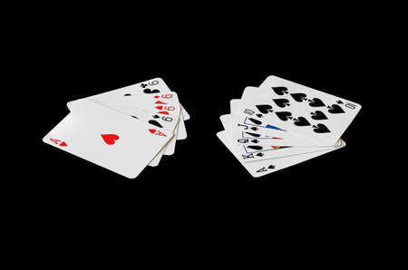 flush: Nine Four cards and ace vs Royal Flush in poker game on black background Stock Photo