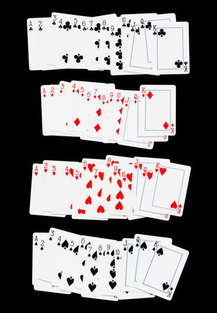 king and queen of hearts: Playing cards Full set on black background