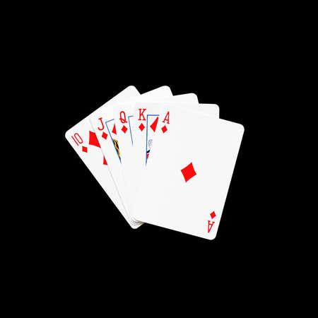 flush: Royal Flush of diamonds in poker game on a black background