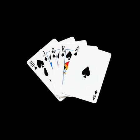 jack of diamonds: Royal Flush of spade  in poker game on a black background