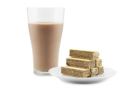 delectable: Chocolate milk and wafer is the snack delectable on a white background Stock Photo