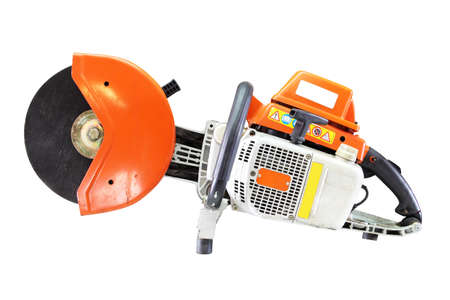 cut off saw: Concrete cutter or circular saws Been through the use and very old isolated on white background