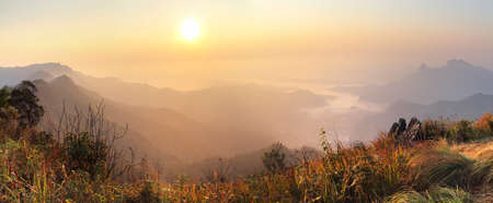 beautiful location: Phu Chi Fa panorama viewpoint at Chiang Rai province in Thailand is a beautiful location and very popular for photographers and tourists