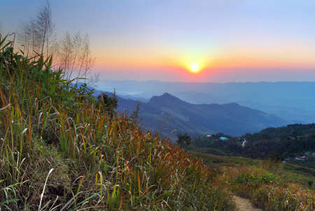 beautiful location: The sunset of Doi Pha Tang viewpoint at Chiang Rai province in Thailand is a beautiful location and very popular for photographers and tourists