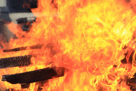 pyromania: Flames in a fire drill, background for safety and security for your work