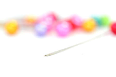 collocation: Photos of push pins focuses on the sharp pins on a white background Stock Photo