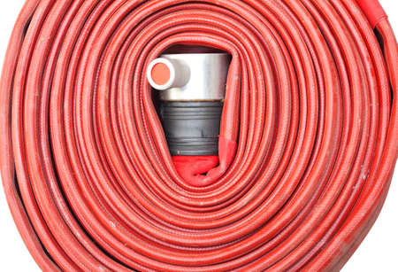 injection valve: Red hose fire shabby and through use on white background