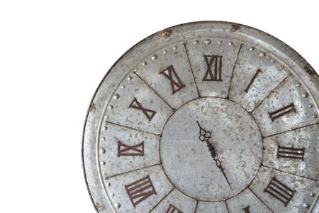 reloj pared: Wall clock old rusty grunge isolate on white background