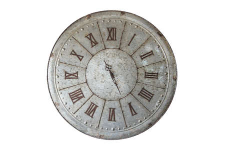 Wall clock old rusty grunge isolate on white background